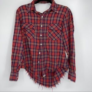 LF FURST OF A KIND DISTRESSED FLANNEL RED